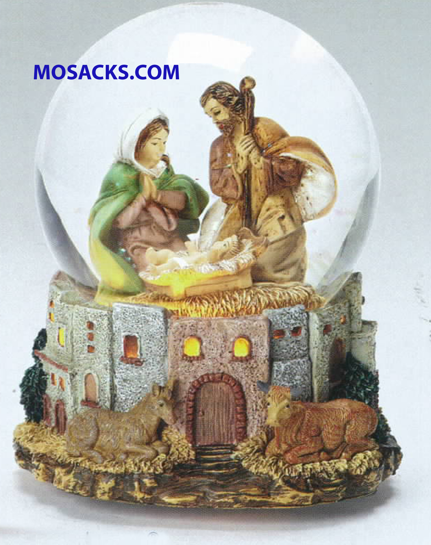 "Fontanini Glitterdomes Holy Family Town Windows Light up 7"" H 20-59081"
