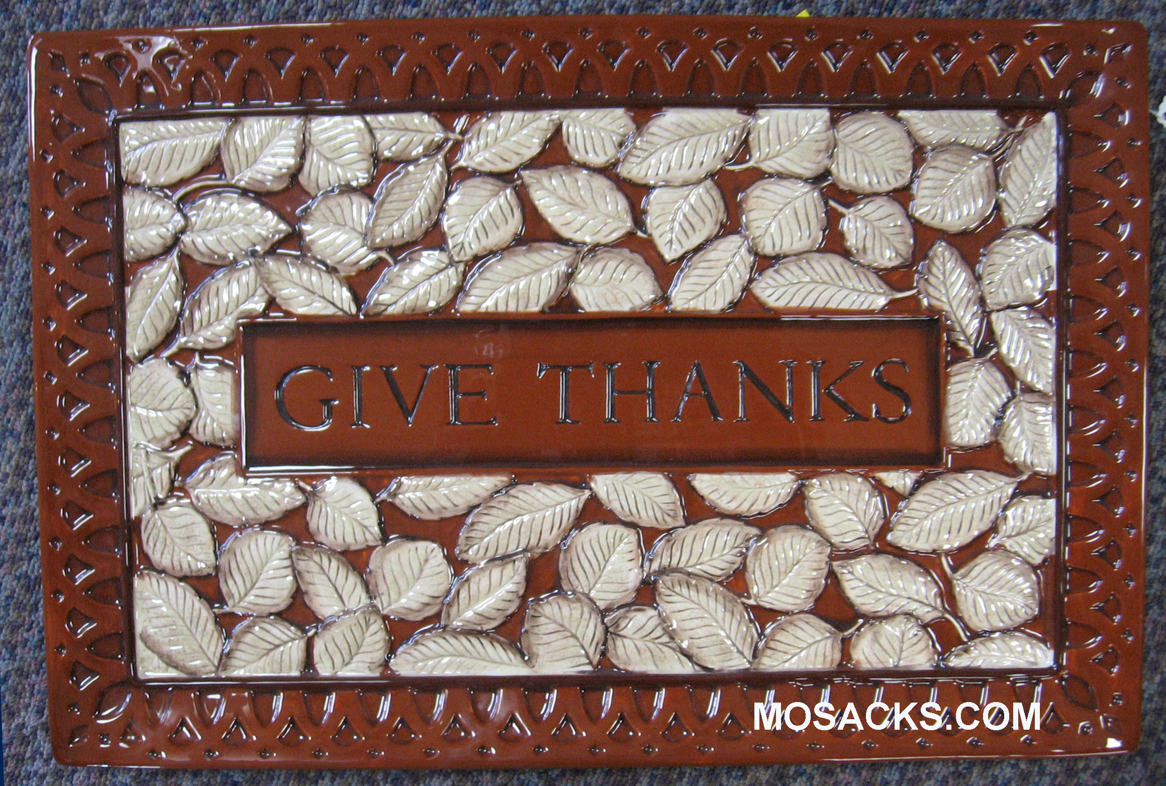 "Give Thanks Brown Serving Platter 13 1/4""  W x 20"" L 440286"
