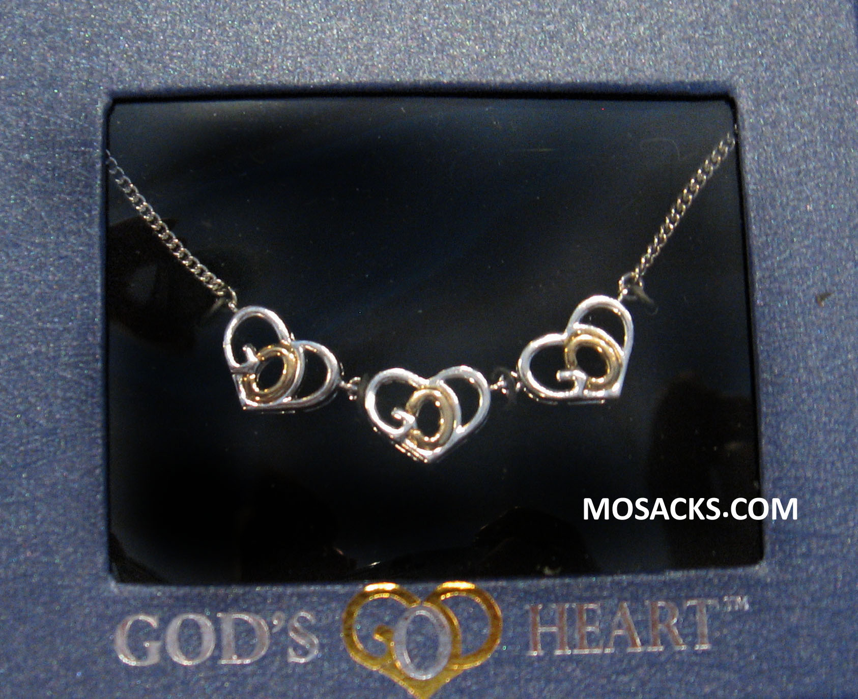 God's Heart Silver-Gold 3 Heart Necklace GDH-3NK