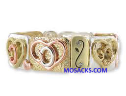 God's Heart Tri-Tone Silver-Gold-Rose Stretch Bracelet GDH-TRIB