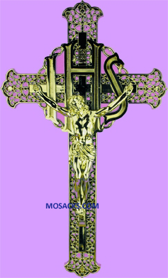 "Gold I.H.S. 8"" Filigree Plastic Crucifix 185-1650G"
