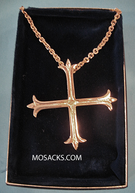 "Gold Finish Pectoral Cross in Fleury  Greek w/ 36"" Chain #5202G"