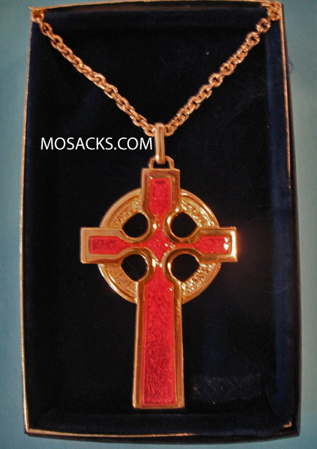 "Gold Finish Pectoral Celtic Cross w/Red Inlay and 36"" Chain #52080"
