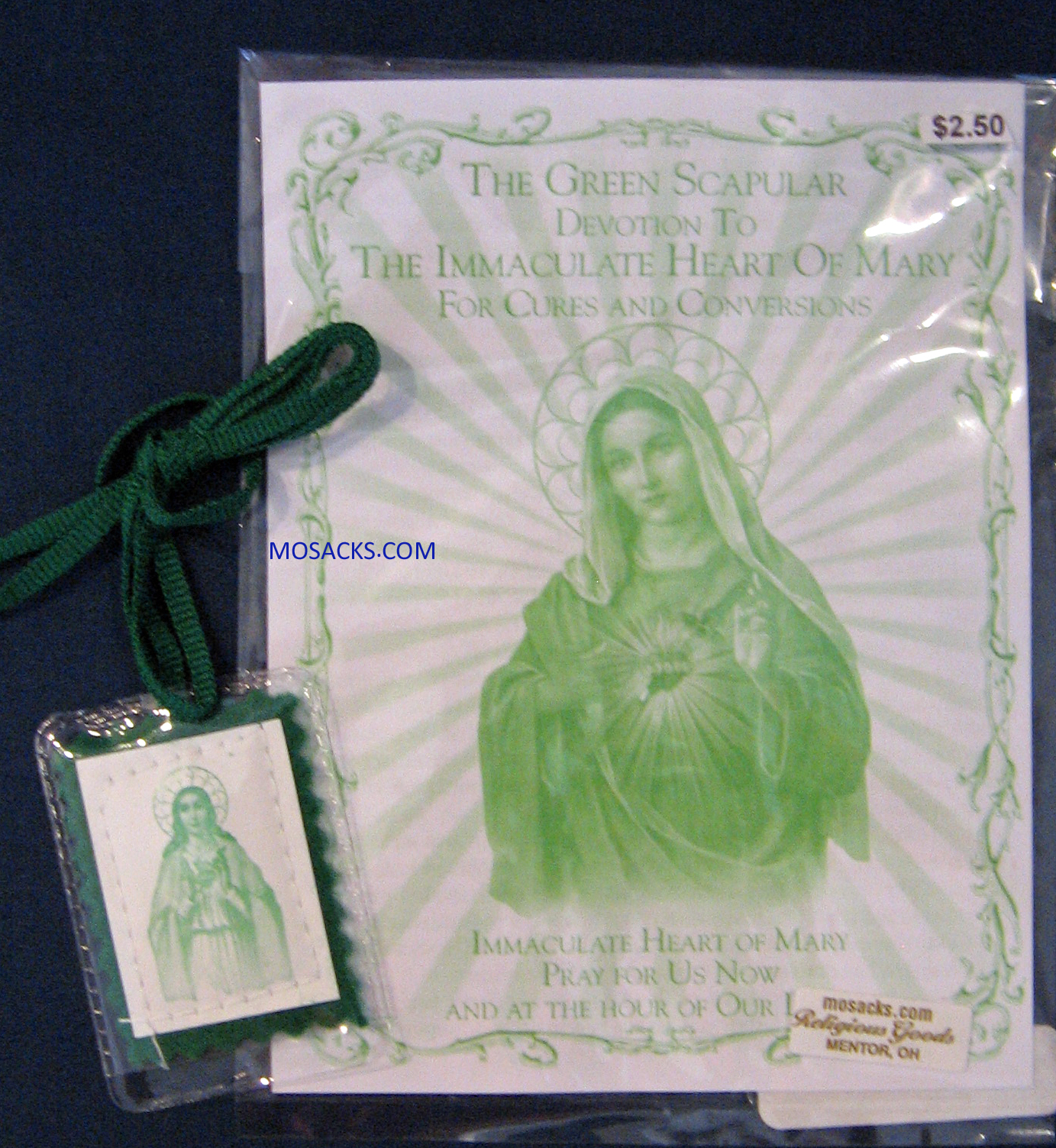 Green Scapular in Soft Plastic Case Devotion To Immaculate Heart 12-1506