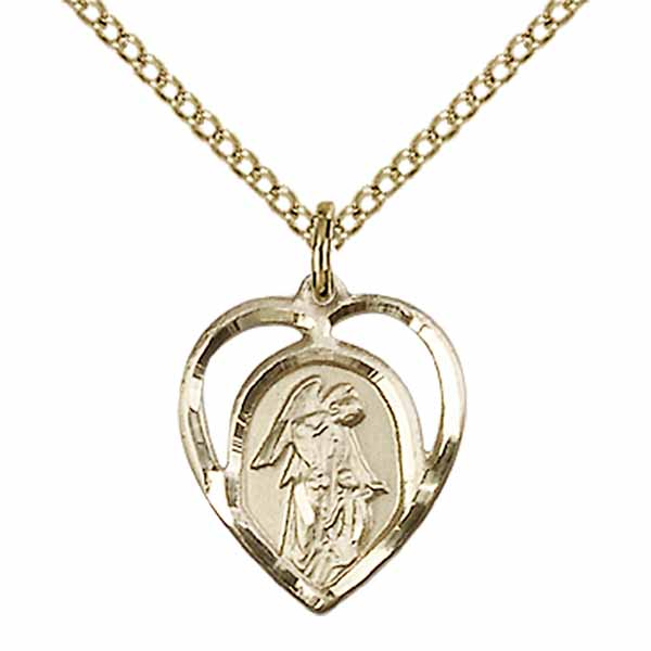 "Guardian Angel Heart 12 KT Gold Filled Medal 5/8""-4129GF/18GF"