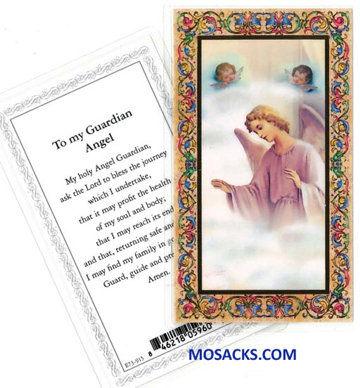 Guardian Angel Laminated Holy Card E73-915