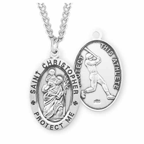 St. Christopher Oval Sports Medal Baseball in Sterling Silver, S601124