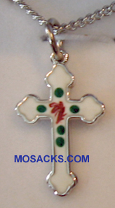 "Sterling Silver White Enameled Cross, 3/4"", S3768W"
