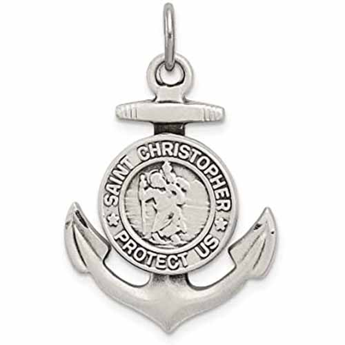 "Sterling Silver St. Christopher Anchor Medal,1"", S152824"