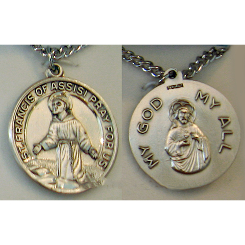 "Sterling Silver St. Francis of Assisi Medal, 1"", S158924"