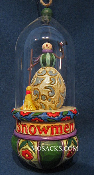 Jim Shore Heartwood Creek Snowman Glass Domed Ornament #4010364