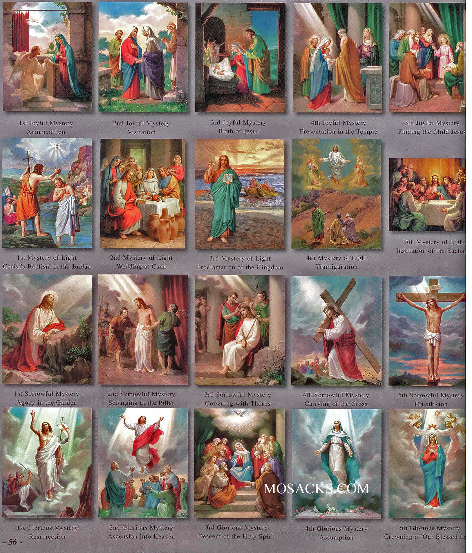 "The 20 Mysteries of the Rosary 4"" x 6"" Teaching Aid Prints 1468"