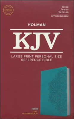 Holman KJV Large Print Personal Size Reference Bible, Teal Leathertouch Indexed 9781535935685