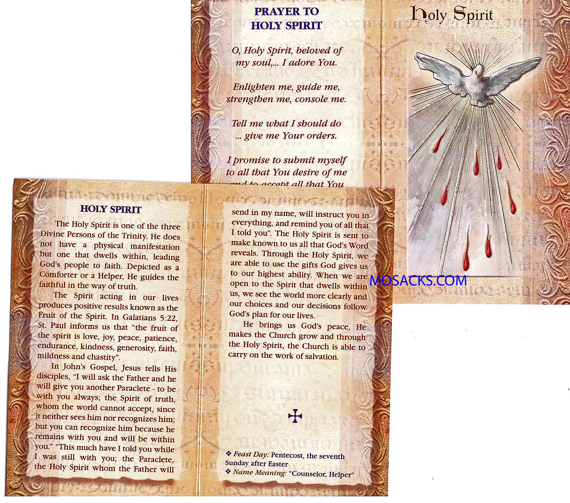 Holy Spirit Gold Stamped Laminated Bi-Fold Holy Card F5-651