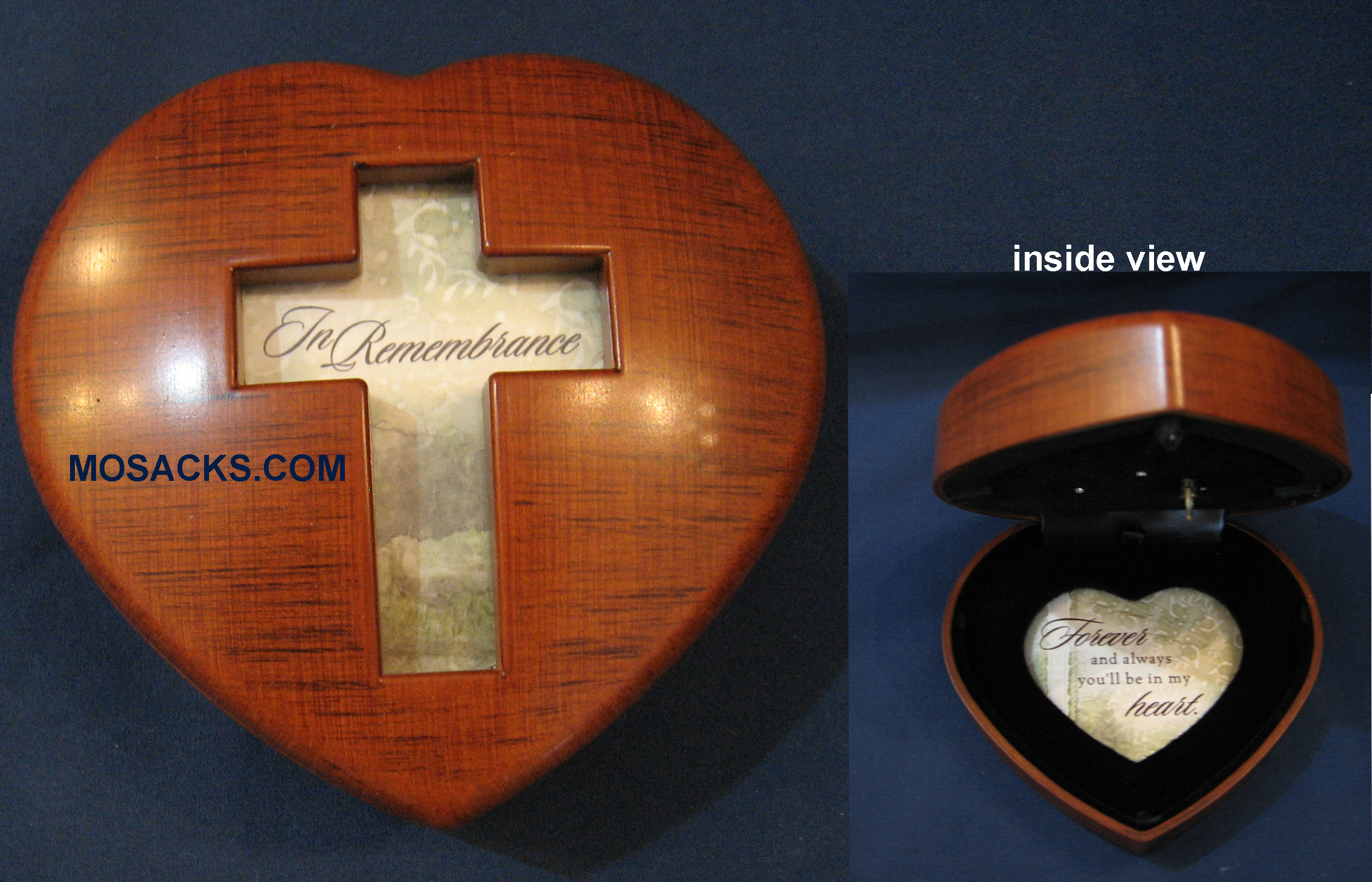 In Remembrance Cross Heart Music Box-HM6094S