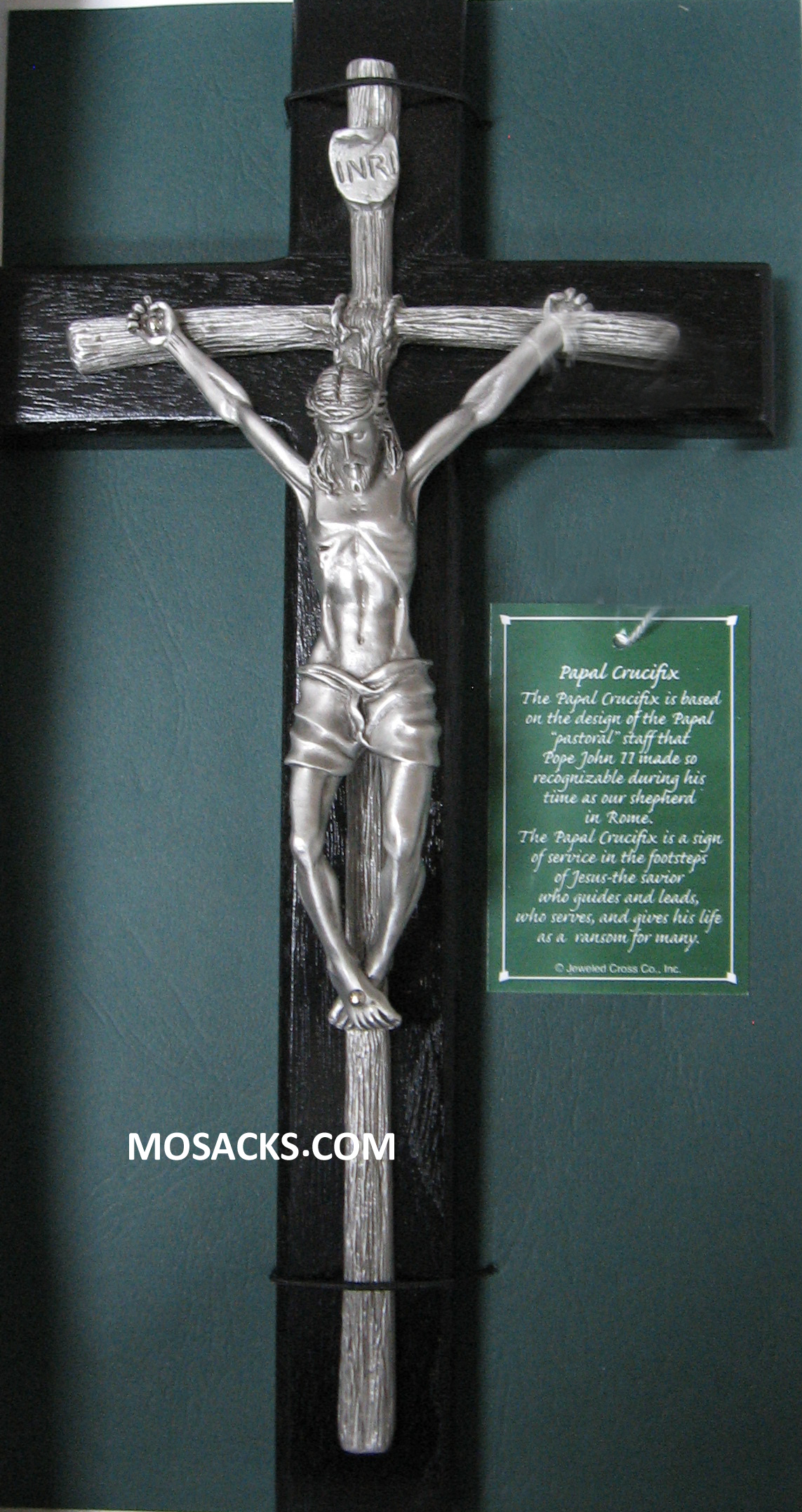 "Papal Crucifix 12"" Black Walnut with Antique Pewter Corpus 34-JC8441E"