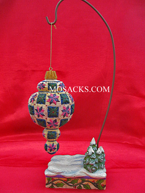 Jim Shore Heartwood Creek Green Leaf With Red Hanging Ornament #118711