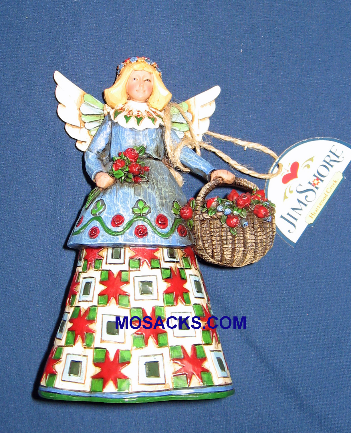 "Jim Shore Heartwood Creek 6"" Angel with Basket of Roses 258-C105169"