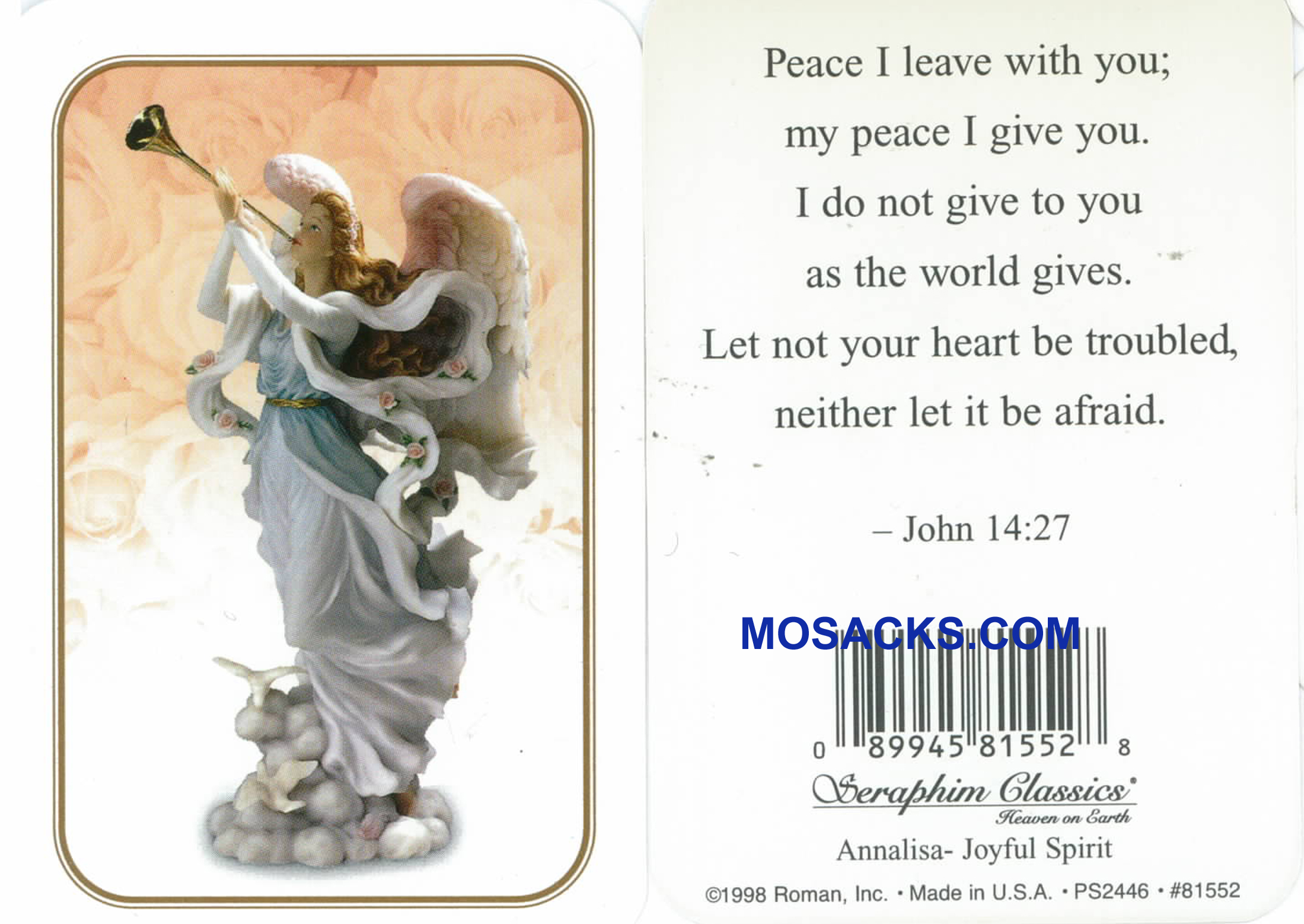 John 14:27 Seraphim Angel Holy Card-81552
