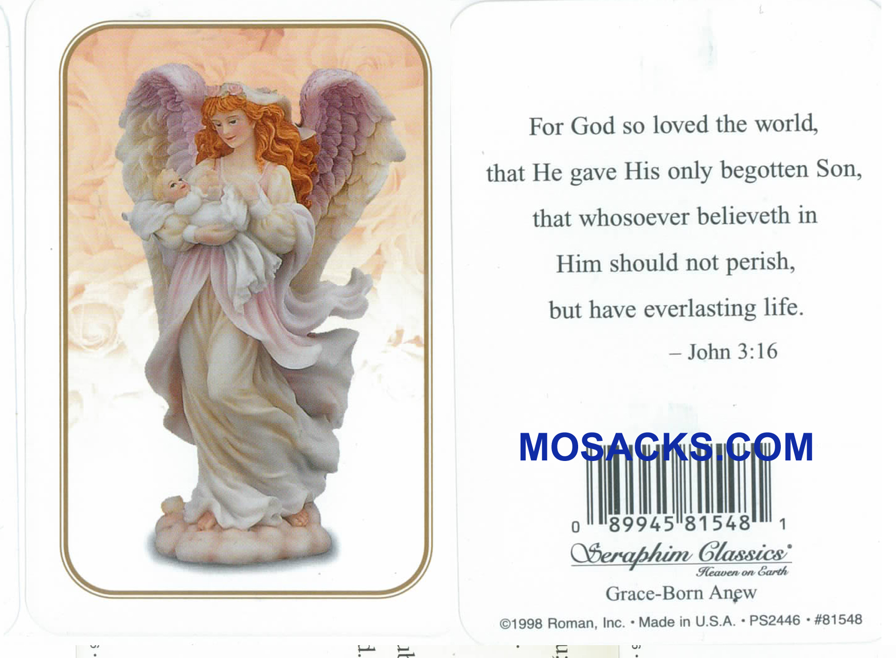 John 3:16 Seraphim Angel Holy Card-81548
