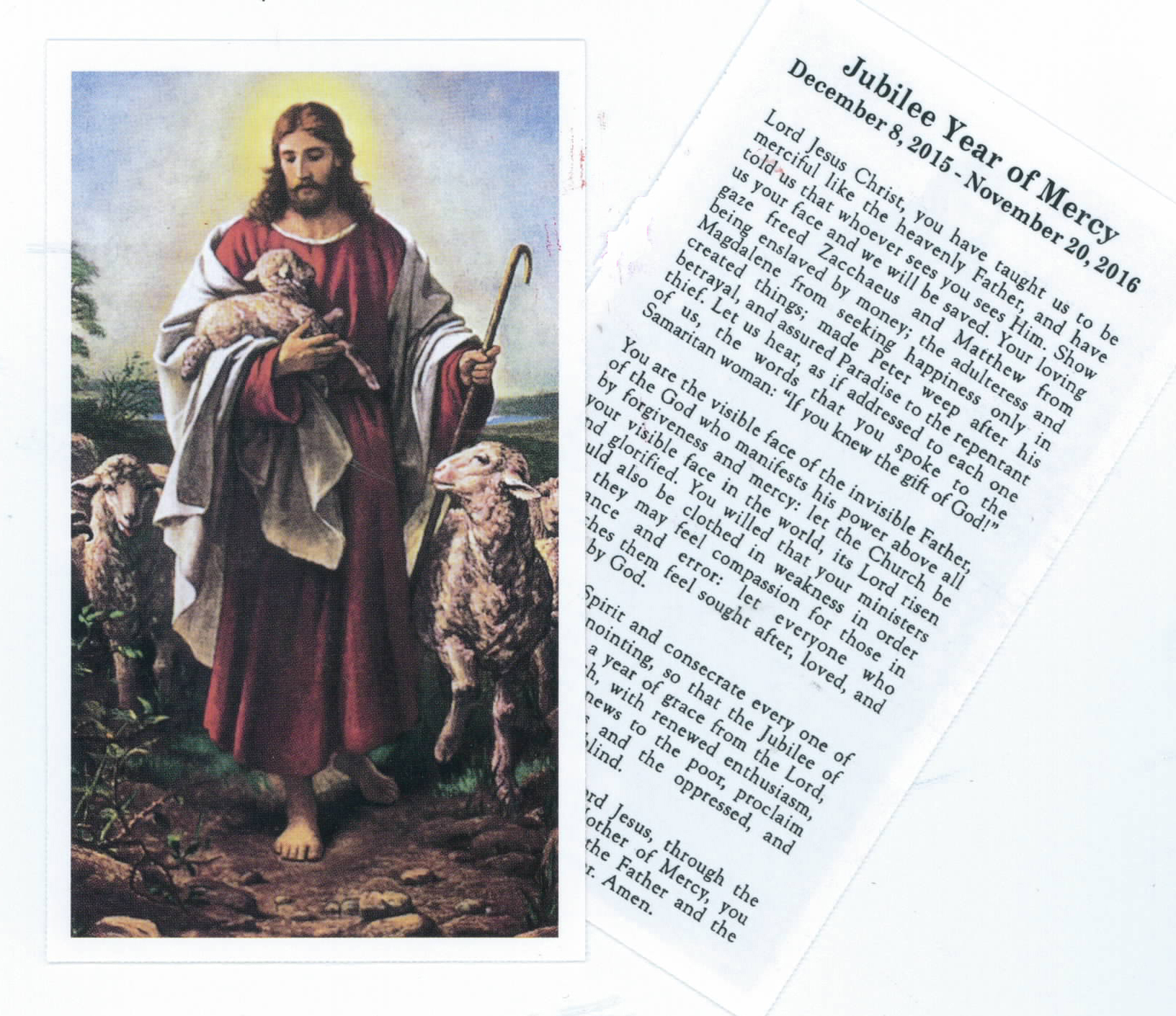 Jubilee Year Of Mercy Good Shepherd Paper Holy Card 2-911M