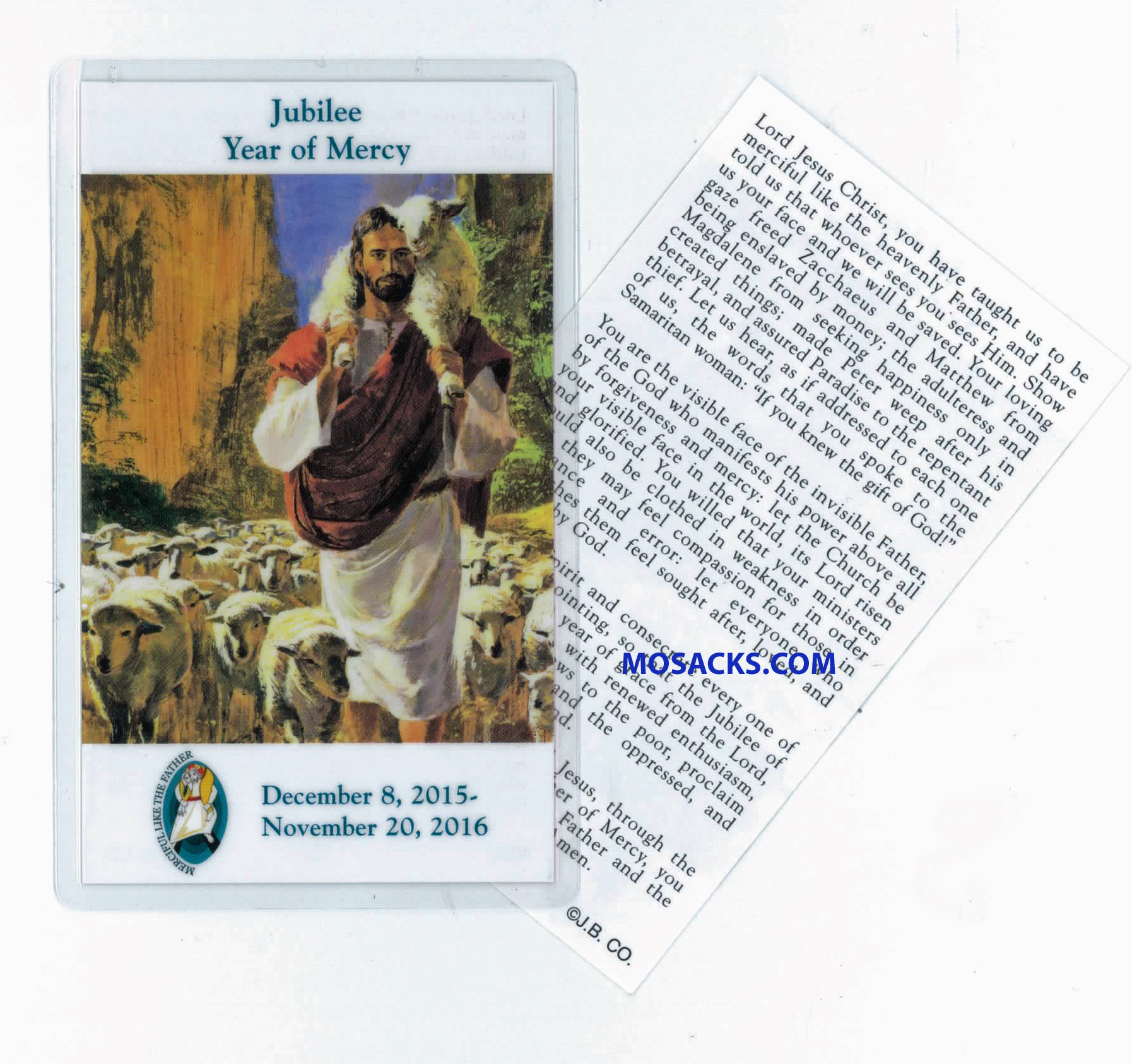Jubilee Year Of Mercy Laminated Holy Card 2-4030L
