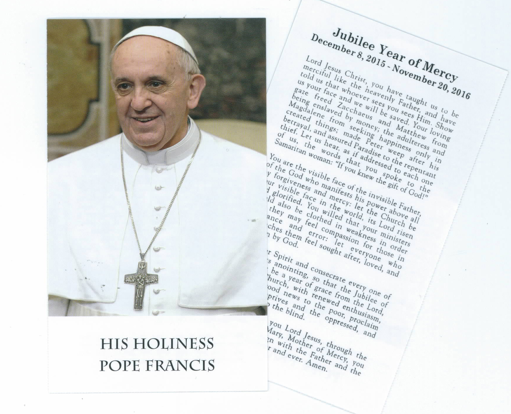 Jubilee Year Of Mercy Pope Francis Paper Holy Card-2