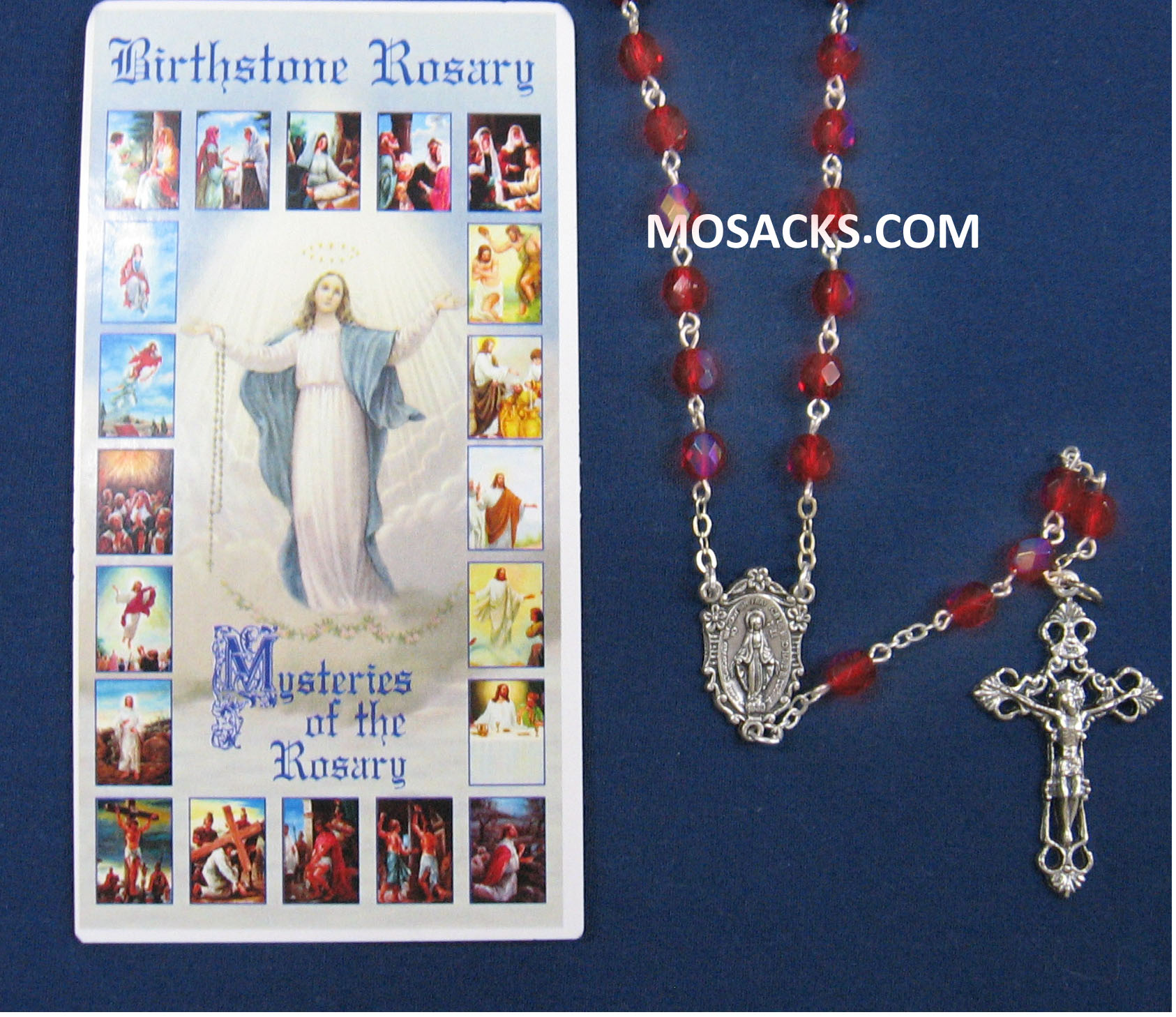 July Ruby Aurora Borealis Birthstone Rosary 64-307/RB/C1