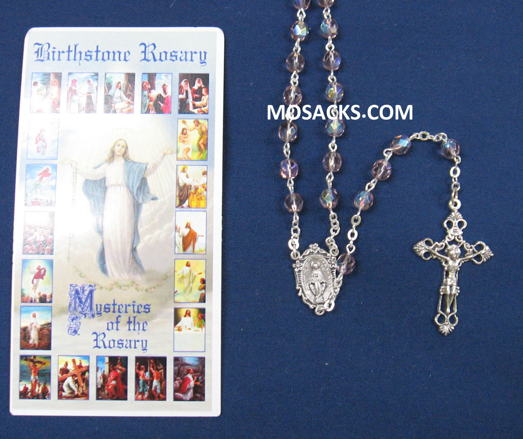 June Light Amethyst Aurora Borealis Birthstone Rosary 64-307/LA/C1