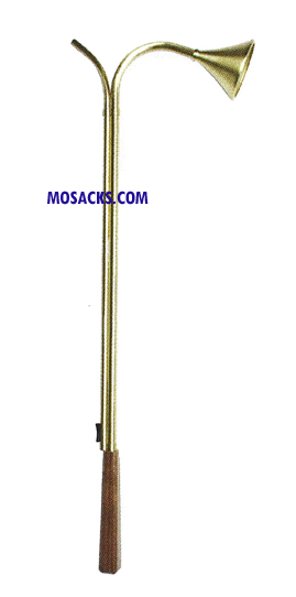 "Candle Lighter Snuffer Walnut Solid Brass 24"" K231"