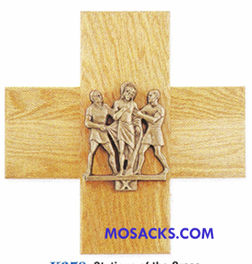 K378-G 24K Gold Plated 14 Stations Of The Cross on Oak Cross