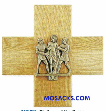 K378 Antique Bronze Finish 14 Stations Of The Cross on Oak Cross