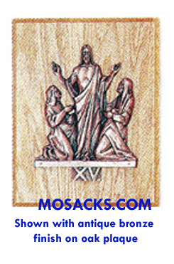 K379-15 Antique Bronze Finish Resurrection Station Of The Cross Wood Plaque