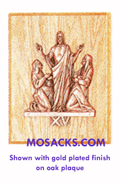 K379-15G Gold Plated Resurrection Station Of The Cross on Wood Plaque