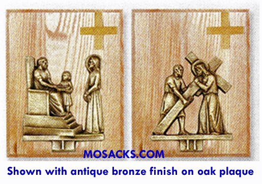 K379-BP Antique Bronze Finish 14 Stations Of The Cross on Wood Plaque