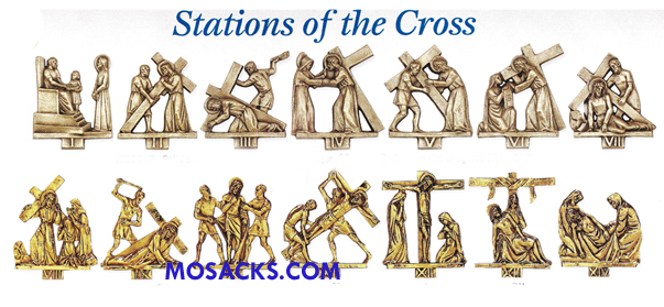 K379-B Solid Bronze 14 Stations Of The Cross