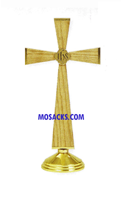 K751 Oak & Brass Altar Cross