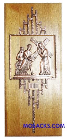 K777 Statuary Bronze Finish 14 Stations Of The Cross on Red Alder Wood