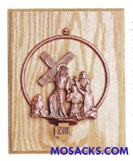 K781 Statuary Bronze Finish 14 Stations Of The Cross on Oak Panel