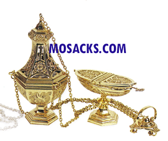 "Censer and Boat Polished Brass 10-3/4"" High K907"