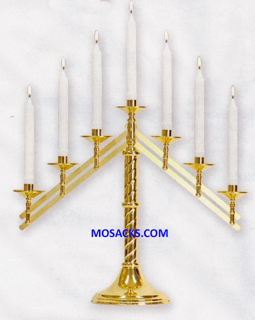 KBrand Ecclesiastical Brass Altar Candlelabra 3 Style Adjustable Arms K1132