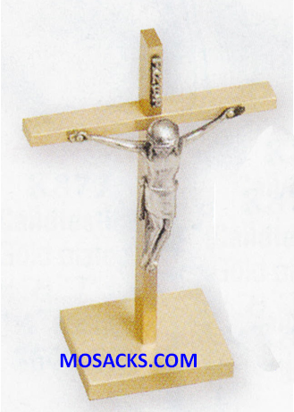 "K Brand Brass Altar Crucifix 6.5"" high 2.5"" base 14-K17-C"