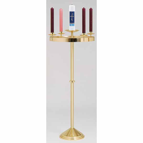 "K Brand Brass Church Advent Wreath 48"" High-K553"