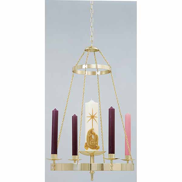 "K Brand Brass Church Advent Wreath Hanging 36"" H x 25"" W-K557"