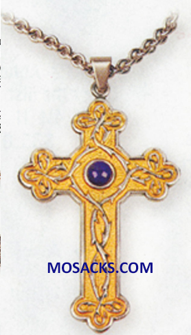 K Brand Pectoral Cross Gold and Silver Plate K918