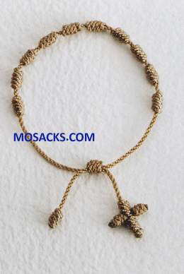 Knotted Cord Rosary Bracelet Beige 356-4880009