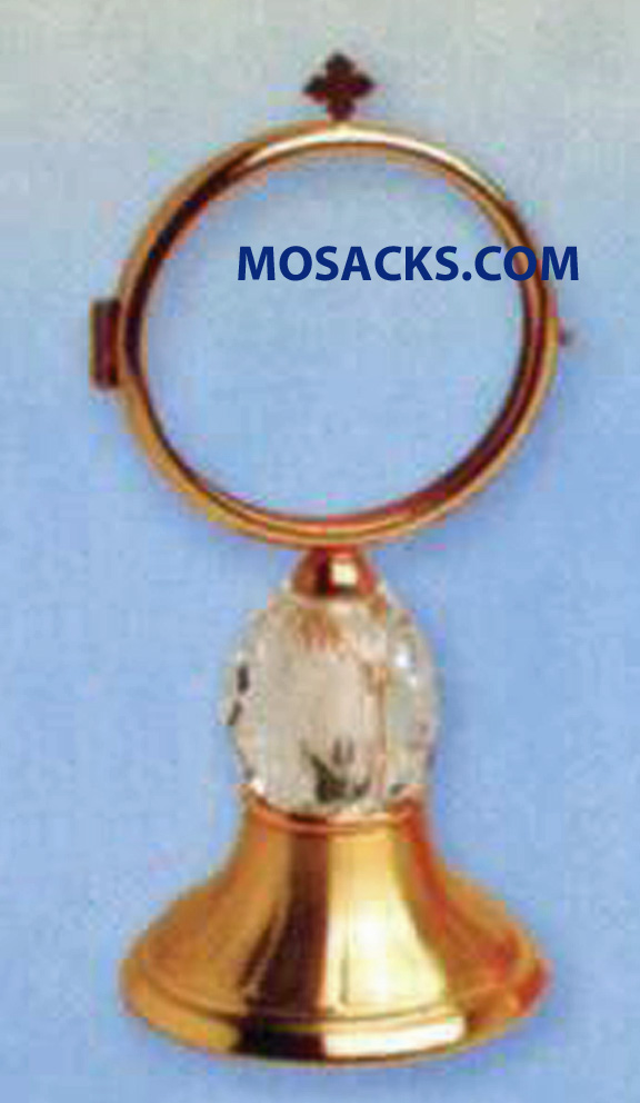 "Chapel Monstrance Gold Plated Crystal - 7.25"" High, 3"" Base. K982"