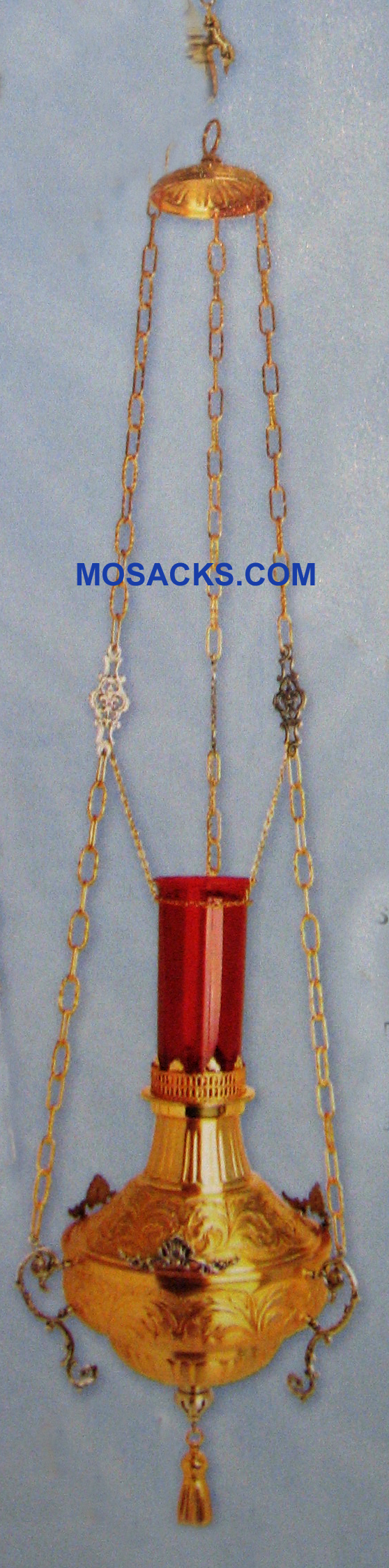"Hanging Sanctuary Lamp 24K Gold Plated, 60"" High # K585"