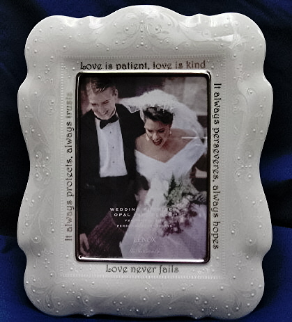 Lenox Wedding Picture Frame, Opal Innocence, Love is Patient, 5 X 7 inch.