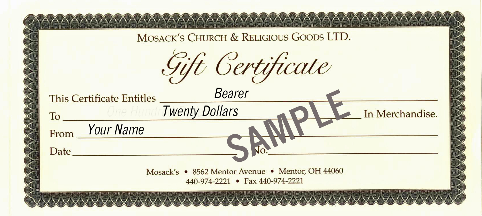 MOSACK'S $20 Gift Certificate